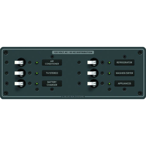 Blue Sea 8097 AC 6 Position Toggle Circuit Breaker Panel  (White Switches) for $228.99 at First Choice Premier Tackle, Inc.