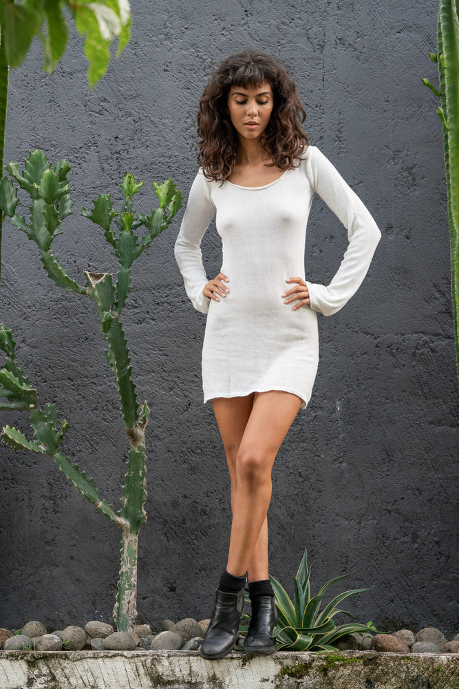 Eva Knitted Mini Dress - White