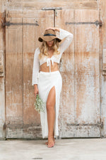 Luna Knitted Maxi Wrap Skirt - Off White