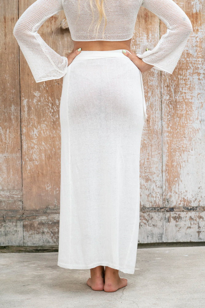 Luna Knitted Maxi Wrap Skirt - White