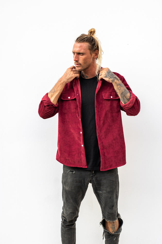 Lay Back Corduroy Shirt - Maroon
