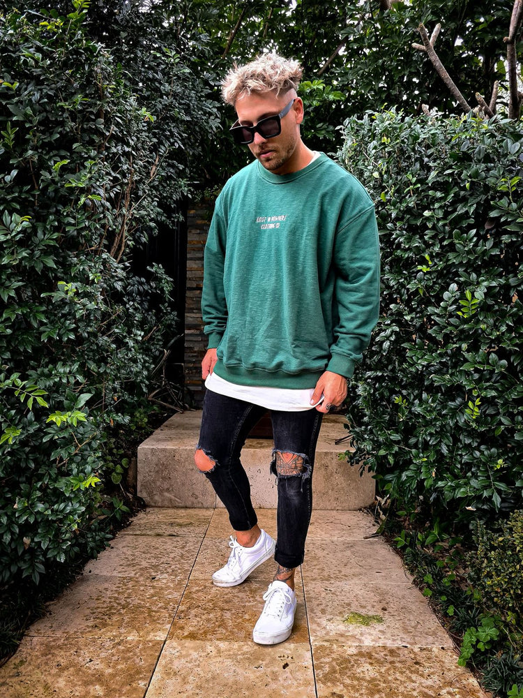 Crew Sweater - Washed Green