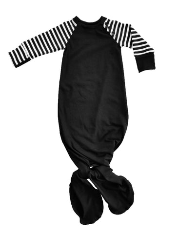 Baby Black & White Striped Knotted Sleeper
