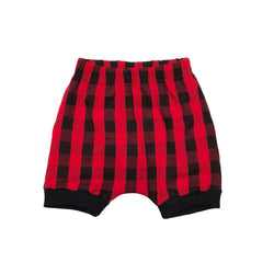 Red & Black Buffalo Plaid Harem Shorts