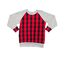 Grey / Red Plaid Raglan