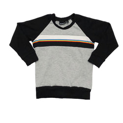 Grey / Black Rainbow Retro Raglan