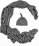Black Stripe Swaddle Blanket + Knotted Hat Baby Set