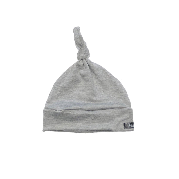Grey Knotted Baby Hat