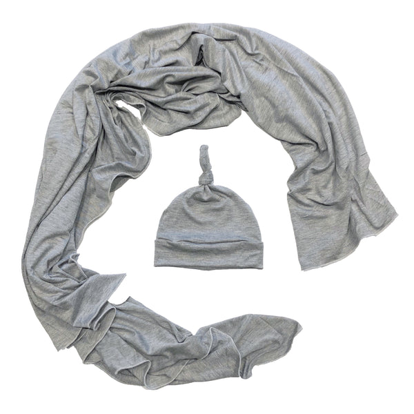 Grey Swaddle Blanket + Knotted Hat Baby Set