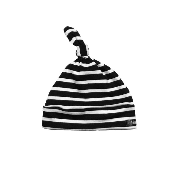 Black Stripe Knotted Baby Hat