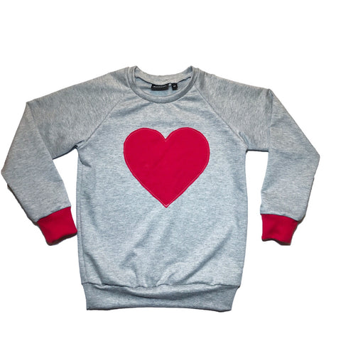Grey / Red Heart Patch Raglan