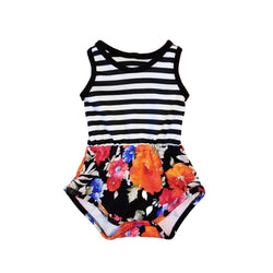 Baby & Toddler Black and White Stripe / Floral Romper