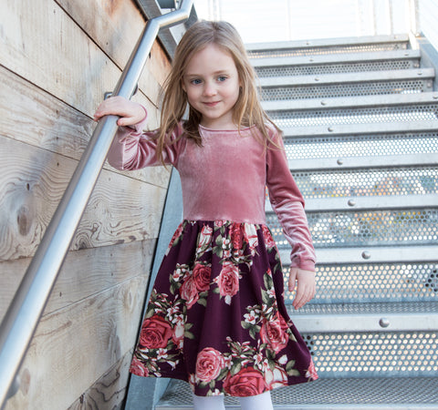 Mauve Velvet / Maroon Floral Dress
