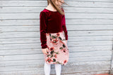 Wine Velvet / Mauve Floral Dress