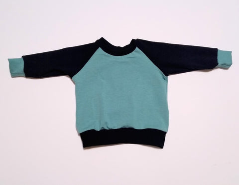 Black and Seafoam Raglan