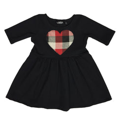 Red, White, & Black Buffalo Plaid Heart Patch Dress