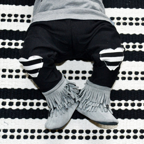 Baby & Toddler Striped Heart Patch Leggings