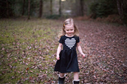 Striped Heart Patch Black Dress