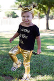 Gold Metallic Baby Leggings