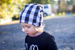White + Black Buffalo Plaid Beanie