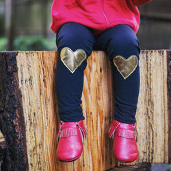 Metallic Gold Heart Patch Leggings