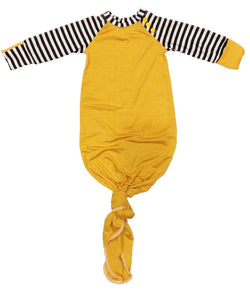 Mustard / Black & White Striped Knotted Sleeper