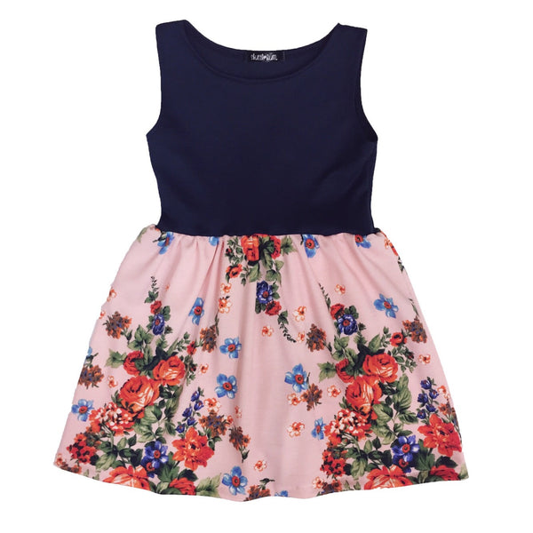 Pink Floral Dress with Navy Blue Top