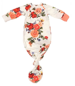 White & Coral Floral Knotted Sleeper