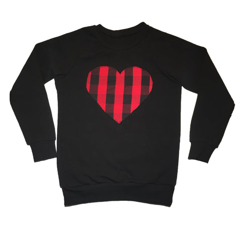 Red Plaid Heart Patch Raglan