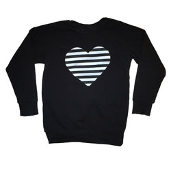 Black & White Stripe Heart Patch Raglan