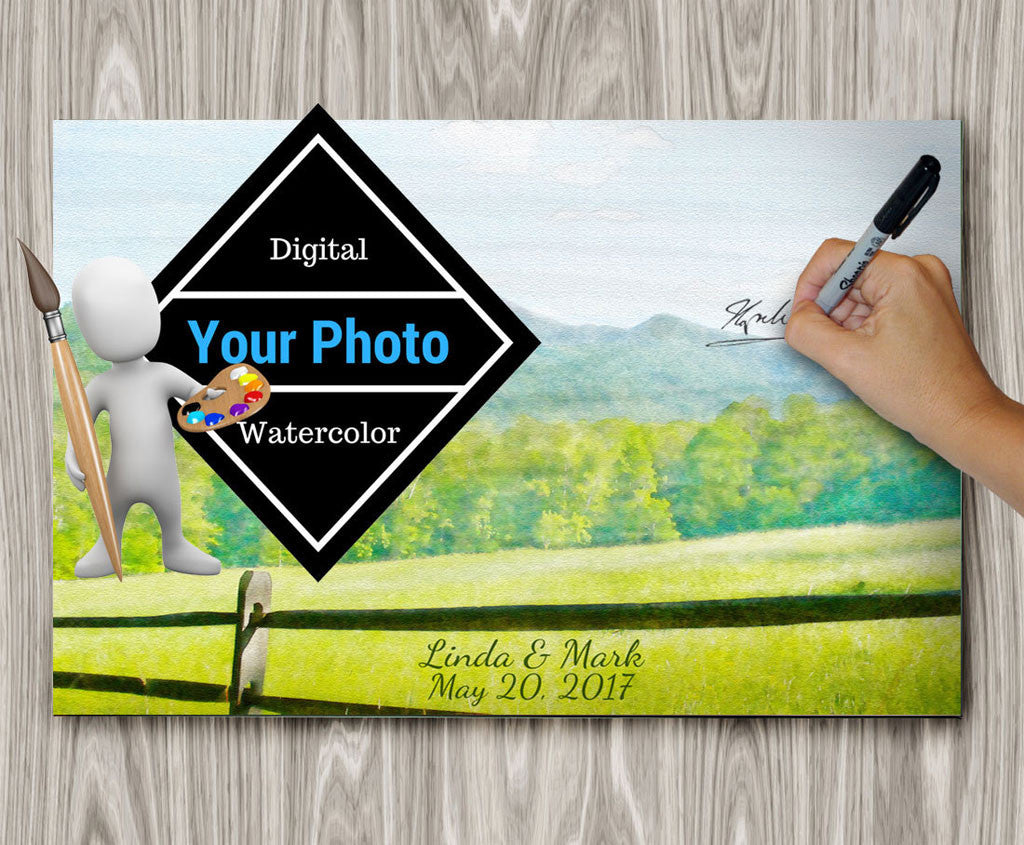 Wedding Guest Book Watercolor of your Photo