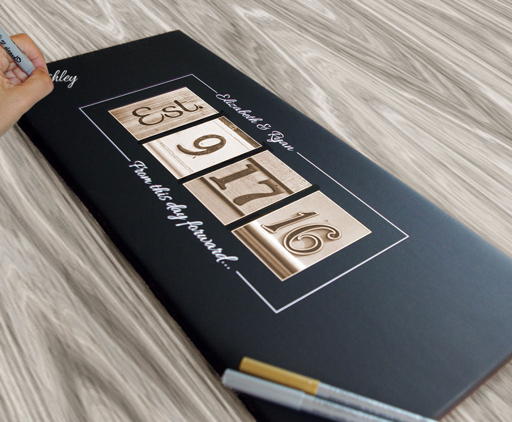 Wedding Date Canvas Guest Book