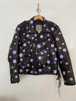 80s upcycled polka dot motorcycle jacket