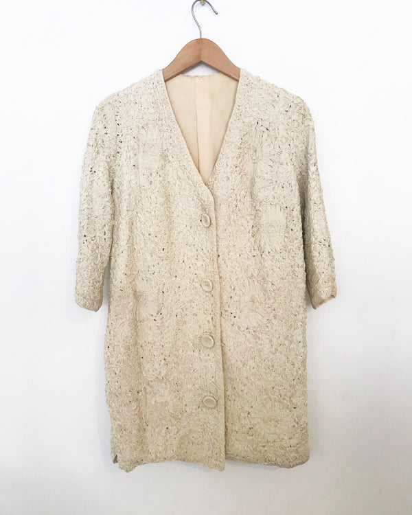 1950's Long Ivory Ribbon Coat