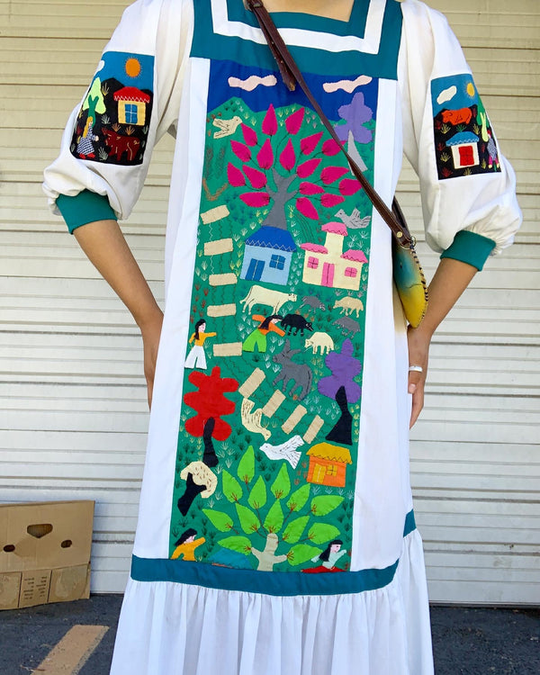 *ON HOLD* Vintage Farm Scene Appliqué Maxi Dress
