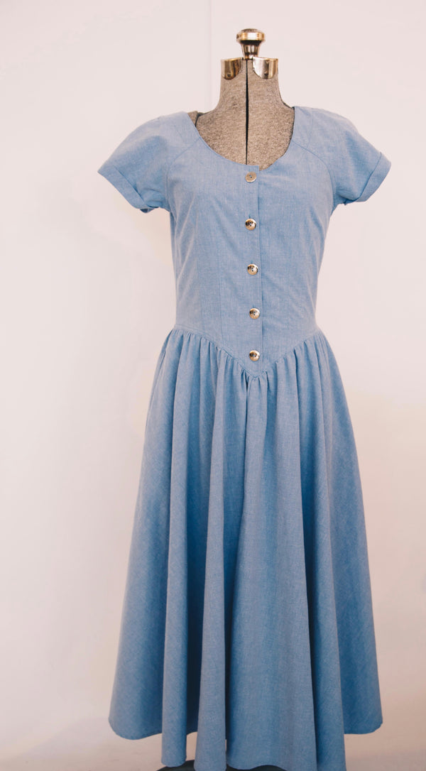 1980's light blue western sundress