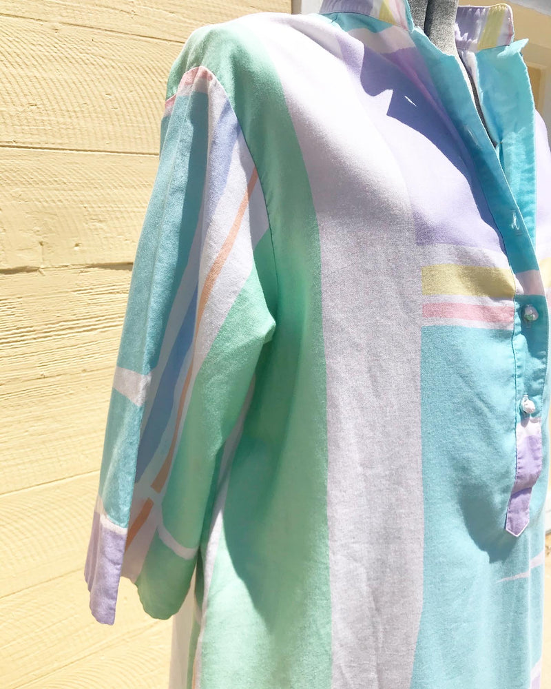 1980's Catherine Ogust Pastel Geometric Shirt Dress