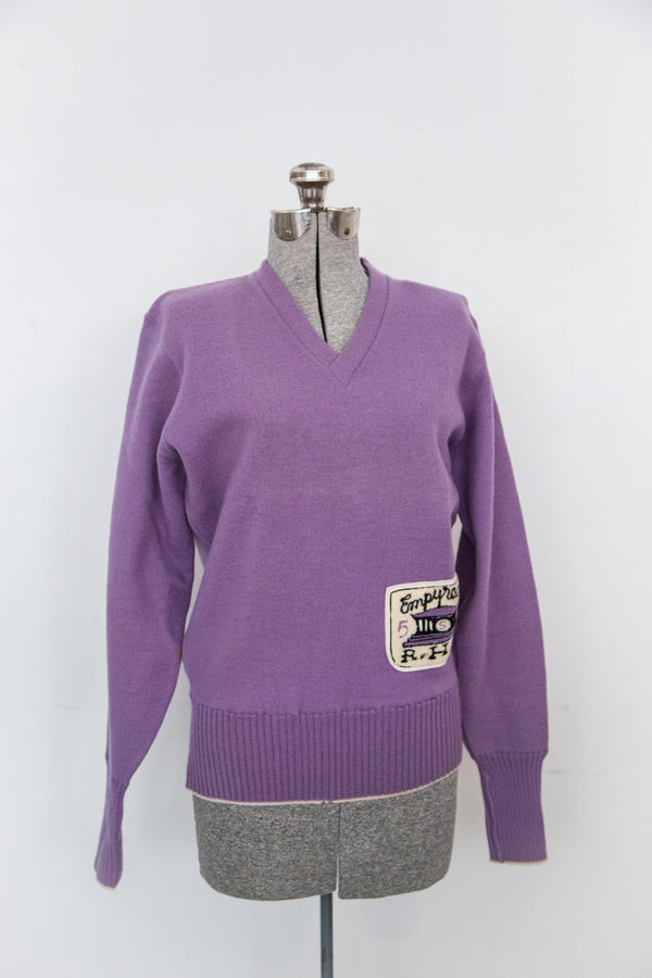 1940s light purple letterman sweater