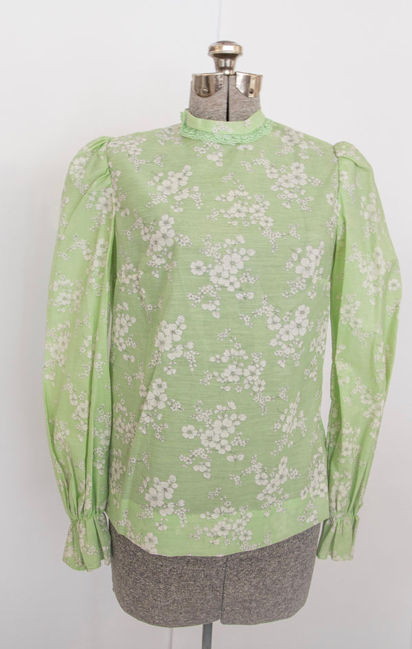 70s floral pastel green prairie blouse