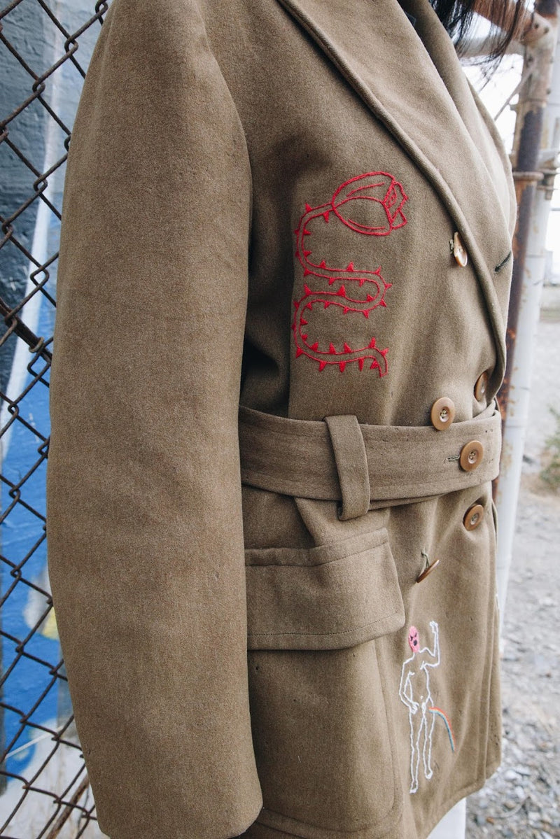 Upcycled 1940s Embroidered Wool Army Jacket