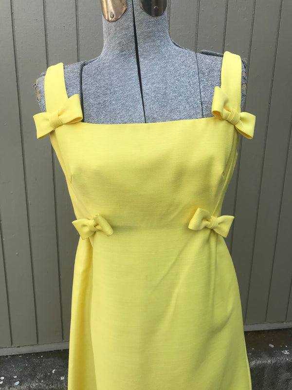 1960's Yellow Maxi Dress with Bows