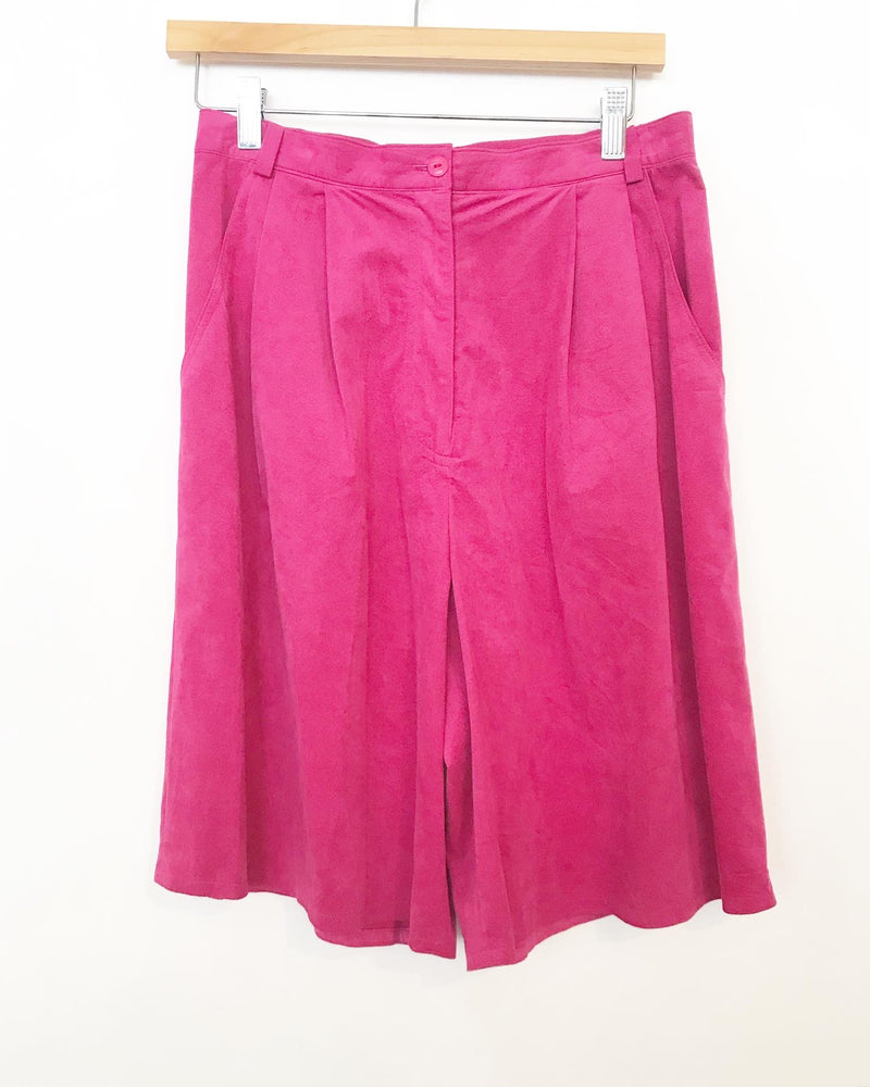 80s bright pink ultra-suede vest and culottes