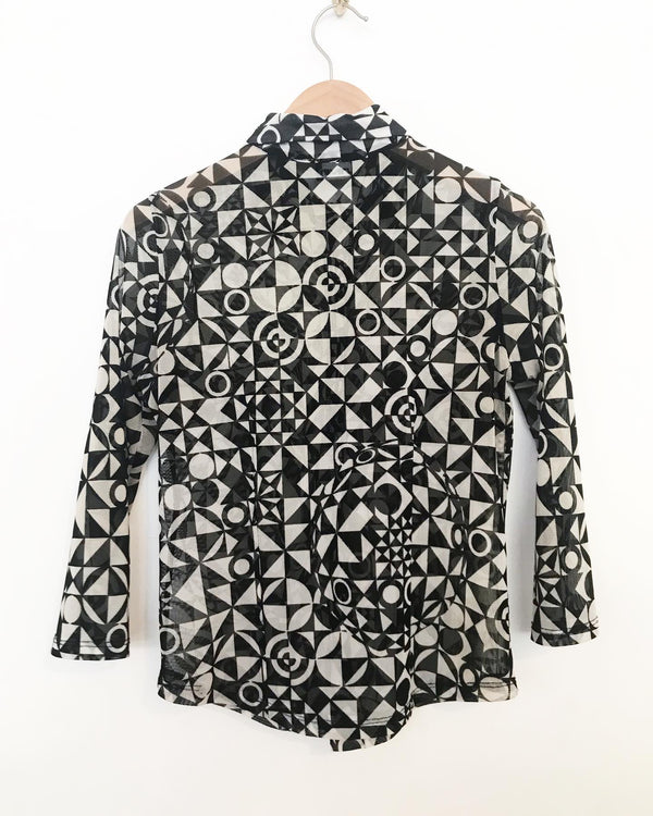 Vintage Sheer Geometric Pattern Blouse