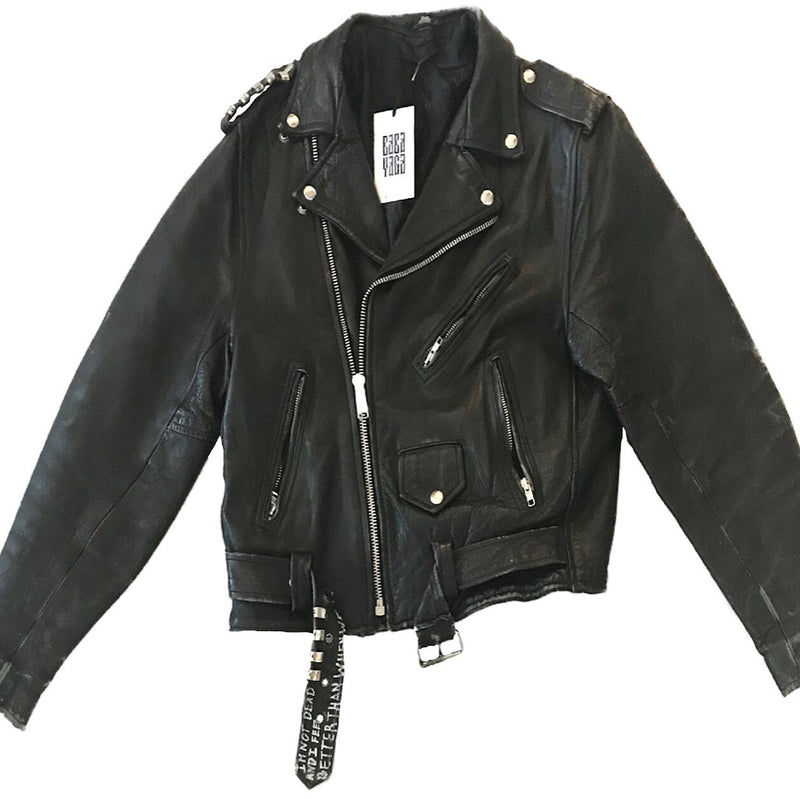 1980s Distressed Leather Motorcycle Jacket