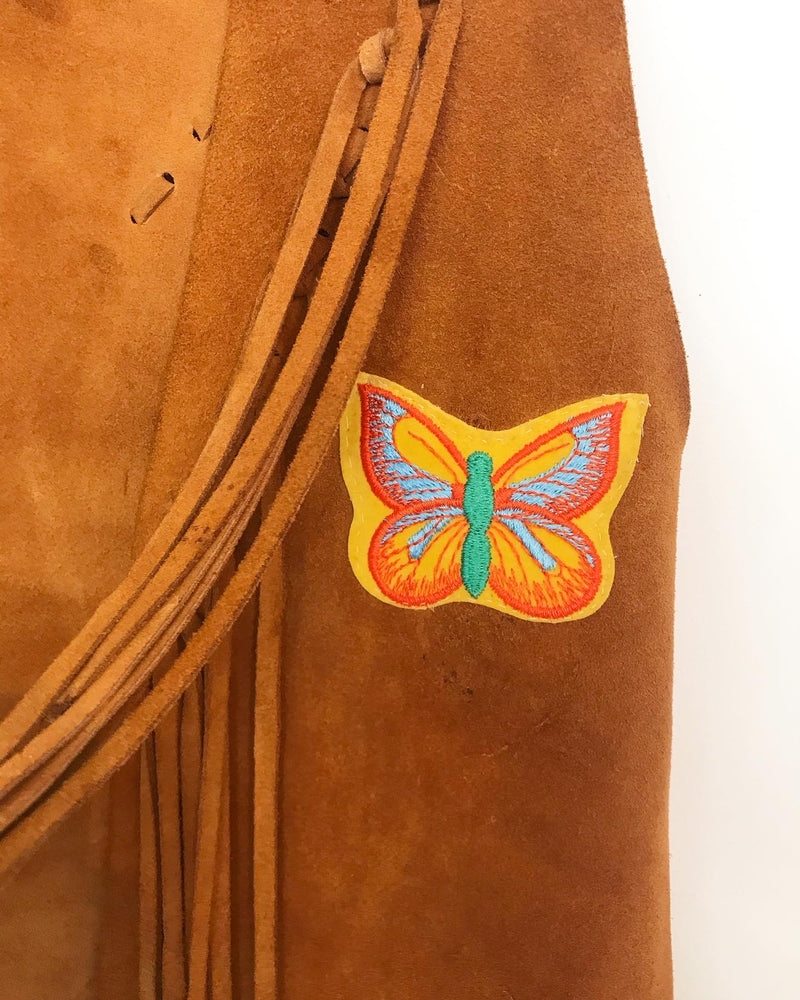 1970's Leather Fringe Butterfly Vest