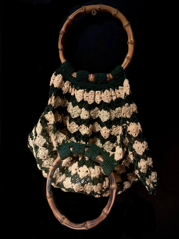 1960's Crochet Purse with Bamboo Handle