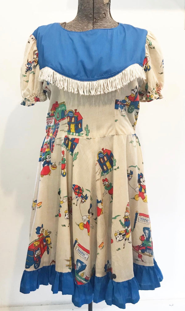 1950s Disney Cowboy print Swing dress