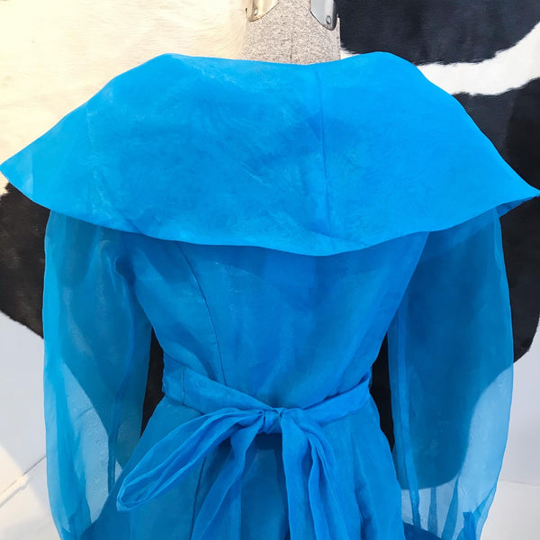 1980's Blue Organza Wrap Blouse