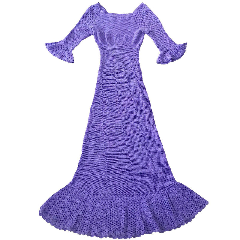 Vintage Lavender Crochet Maxi Dress