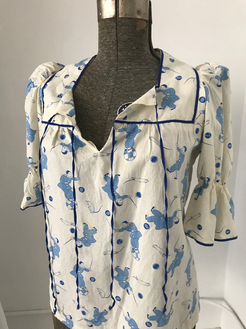 70's Cotton Shirt with Clown Print